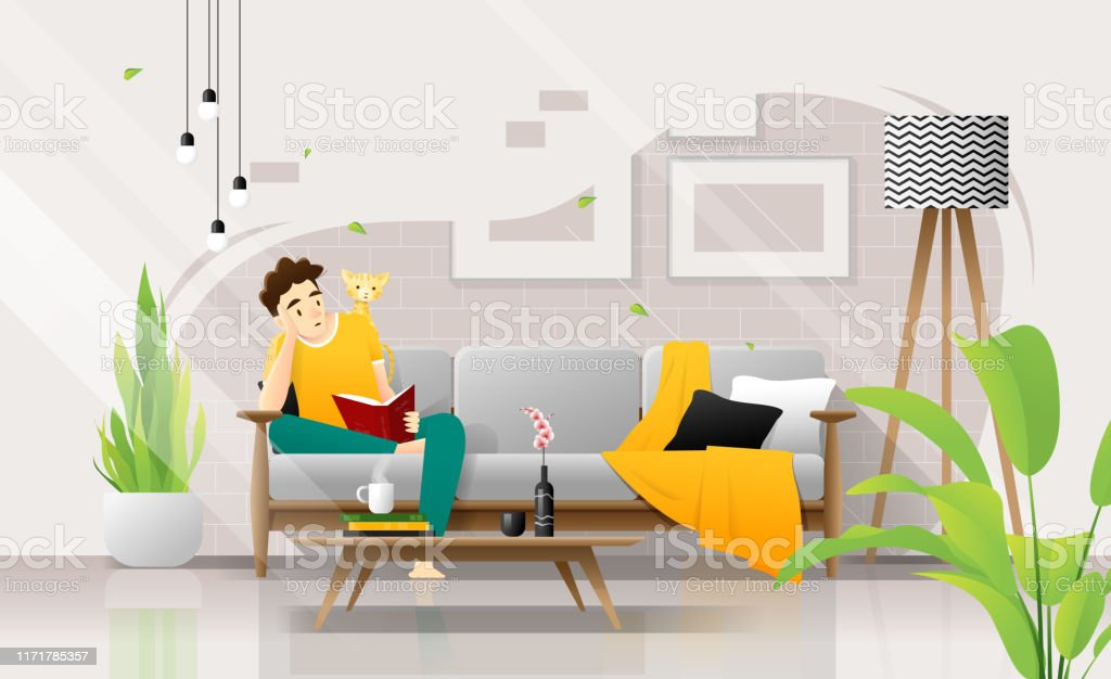 Happy young man sitting on sofa and reading a book in living room, relaxing weekend at home ,vector , illustration Happy young man sitting on sofa and reading a book in living room, relaxing weekend at home ,vector , illustration Adult stock vector
