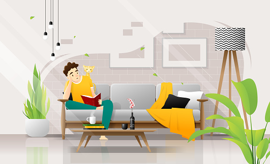 Happy Young Man Sitting On Sofa And Reading A Book In Living Room Relaxing Weekend At Home Vector Illustration Stock Illustration - Download Image Now