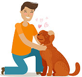 Happy young man with dog. Pet, pooch, doggie concept. Cartoon vector illustration