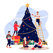 Happy young people decorating Christmas Tree. Family celebrating New Year Eve. Vector flat cartoon illustration. Men and women have a fun winter holiday time.