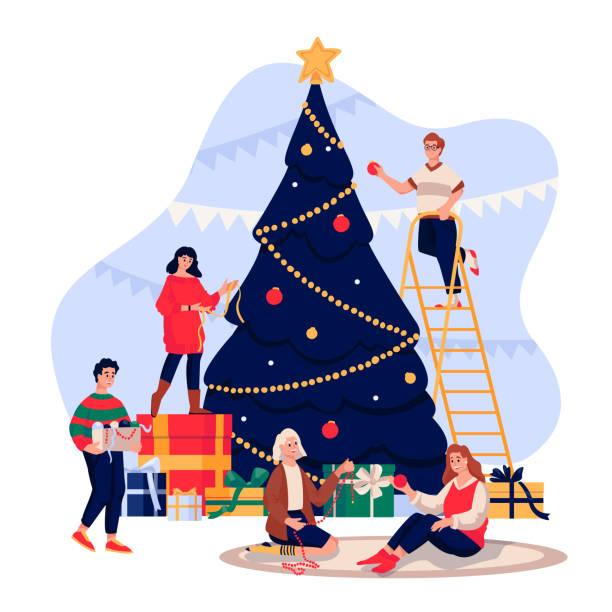 ilustrações de stock, clip art, desenhos animados e ícones de happy young people decorating christmas tree. family celebrating new year eve. vector flat cartoon illustration - family christmas
