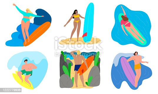 istock Happy young people in swimwear enjoying water surfing vector illustration 1222779938