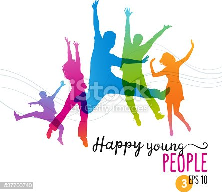 Colorful silhouettes of young people jumping for joy. Eps 10 file. Layered and global colors used.