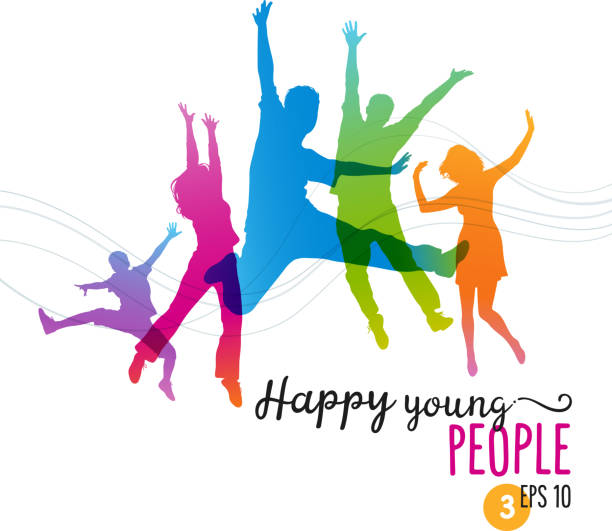 Happy Young People Jumping for Joy Colorful silhouettes of young people jumping for joy. Eps 10 file. Layered and global colors used. jumping stock illustrations