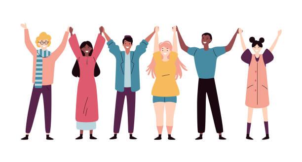 glückliche junge menschen stehen zusammen und halten die hände - arme hoch stock-grafiken, -clipart, -cartoons und -symbole