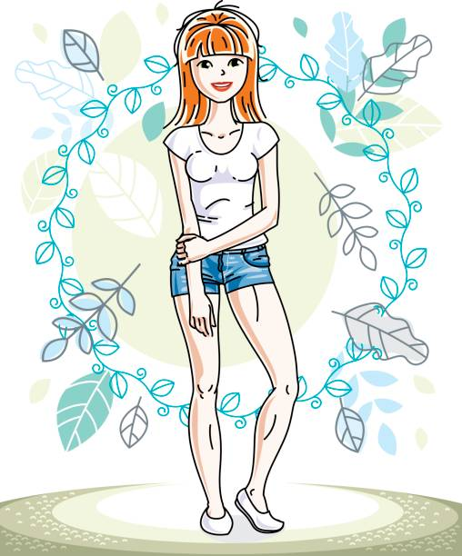 happy young red-haired woman posing on background of spring landscape and wearing casual clothes. vector attractive female illustration. springtime fashion and lifestyle theme cartoon. - spring fashion stock illustrations, clip art, cartoons, & icons