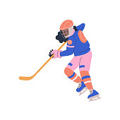 Happy young teenager girl playing ice hockey game