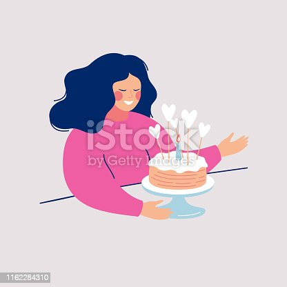 Happy young woman going to eat delicious pie decorated with icing, hearts and one burning candle. Flat cartoon vector illustration isolated on light background.