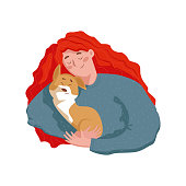 Happy Young Woman holding and hugging a cute puppy. In Flat style isolated vector character illustration.
