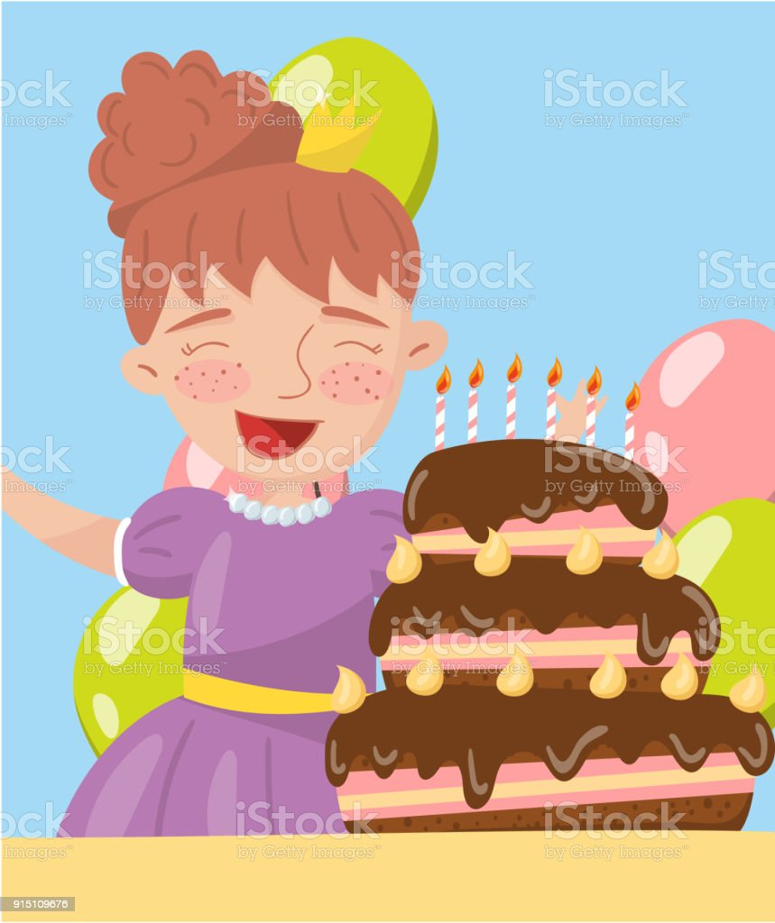 Happy Young Woman Holding Birthday Cake Photo Best Moments On