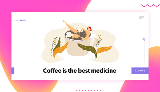Happy Young Woman Relaxing in Big Coffee Cup. Female Character Bath in Teacup. Pretty Girl Lying in Mug with Hot Drink. Vector flat cartoon illustration