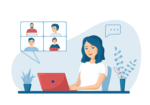 Happy young woman talking to colleagues using a video call. Concept of online conference from home. Remote work from home. Vector illustration in a flat cartoon style.