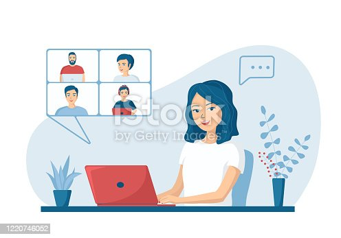 istock Happy young woman talking to colleagues using a video call. Concept of online conference from home. Remote work from home. Vector illustration in a flat cartoon style. 1220746052