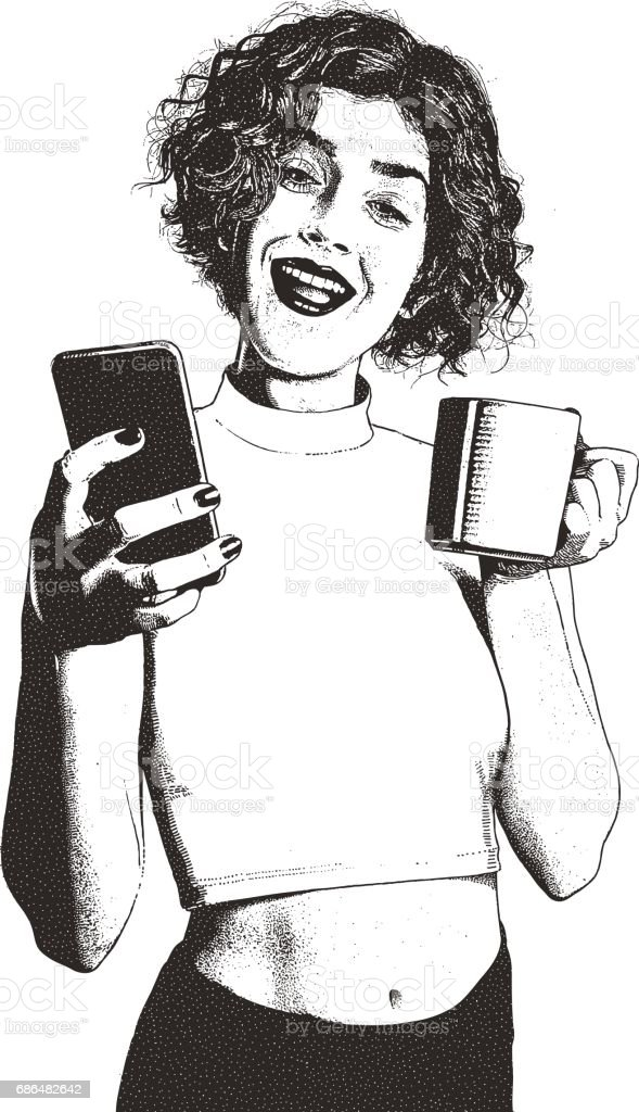 Happy young woman texting and drinking coffee vector art illustration