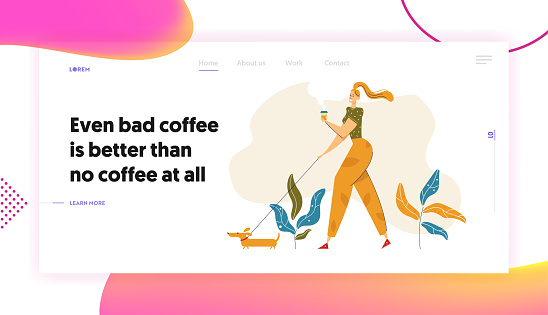 Happy Young Woman Walking in the Park with Dog and Cup of Coffee Landing Page. Female Character Drinking Coffee Outdoor on the Walk Website, Banner, Web Page. Vector flat cartoon illustration