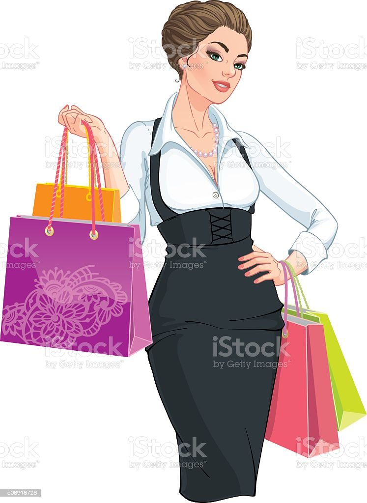 Happy young woman with shopping bags vector art illustration