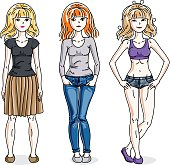 Happy young women group standing wearing fashionable casual clothes. Vector diversity people illustrations set. Fashion and lifestyle theme cartoons.
