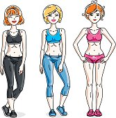 Happy young women posing wearing stylish sport clothes, sportswoman and fitness people. Vector set of beautiful people illustrations.