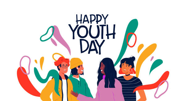 Happy youth day card of diverse teen friend group Happy youth day greeting card illustration of diverse teen friend group. Social young diverse people collaborate together with colorful decoration and modern fashion. youth culture stock illustrations