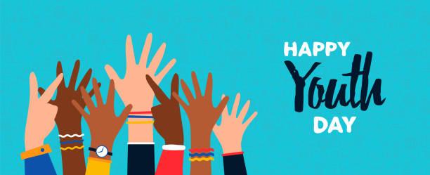 ilustrações, clipart, desenhos animados e ícones de cartão feliz do dia da juventude do grupo adolescente diverso da mão - dia das crianças