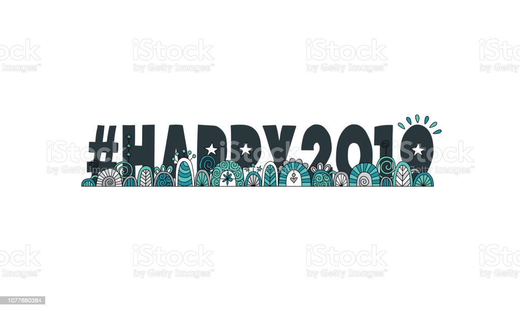 #happy2019 With Doodle Design vector art illustration