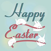 Easter background with cute easter  bunnies in cartoon style. Easter card.