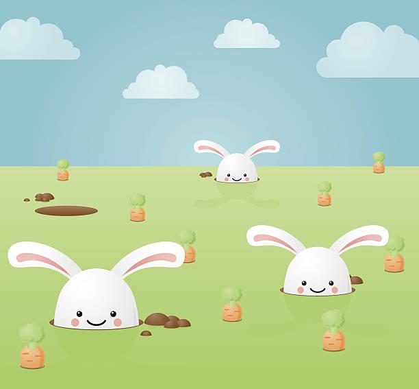 happyland: hase-bau - kaninchenbau stock-grafiken, -clipart, -cartoons und -symbole