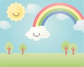 the sun came out on happyland and drew a rainbow in the sky!. grouped and layered for easy editing.