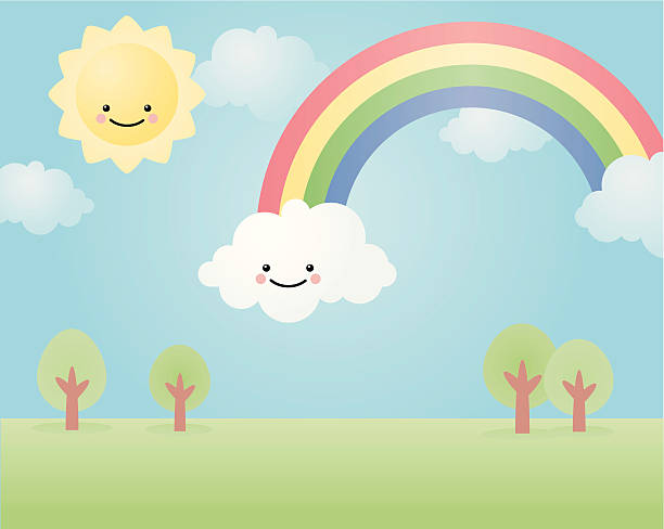 happyland: rainbow vector art illustration