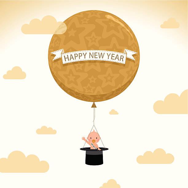 happynewyear balloon newborn tophat baby illustration vector party vector art illustration