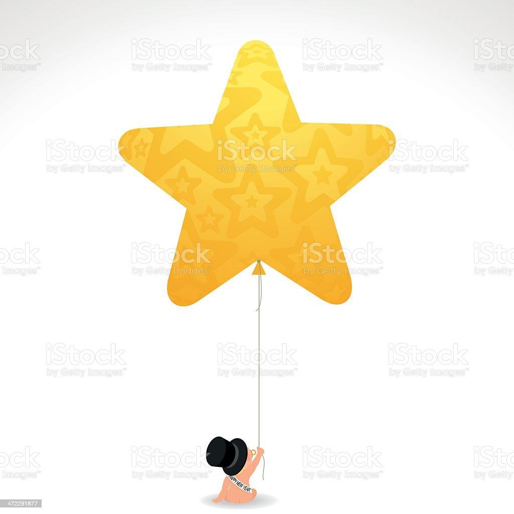 Happynewyear Tophat Bebé Recién Nacido Estrella Ilustración De ...