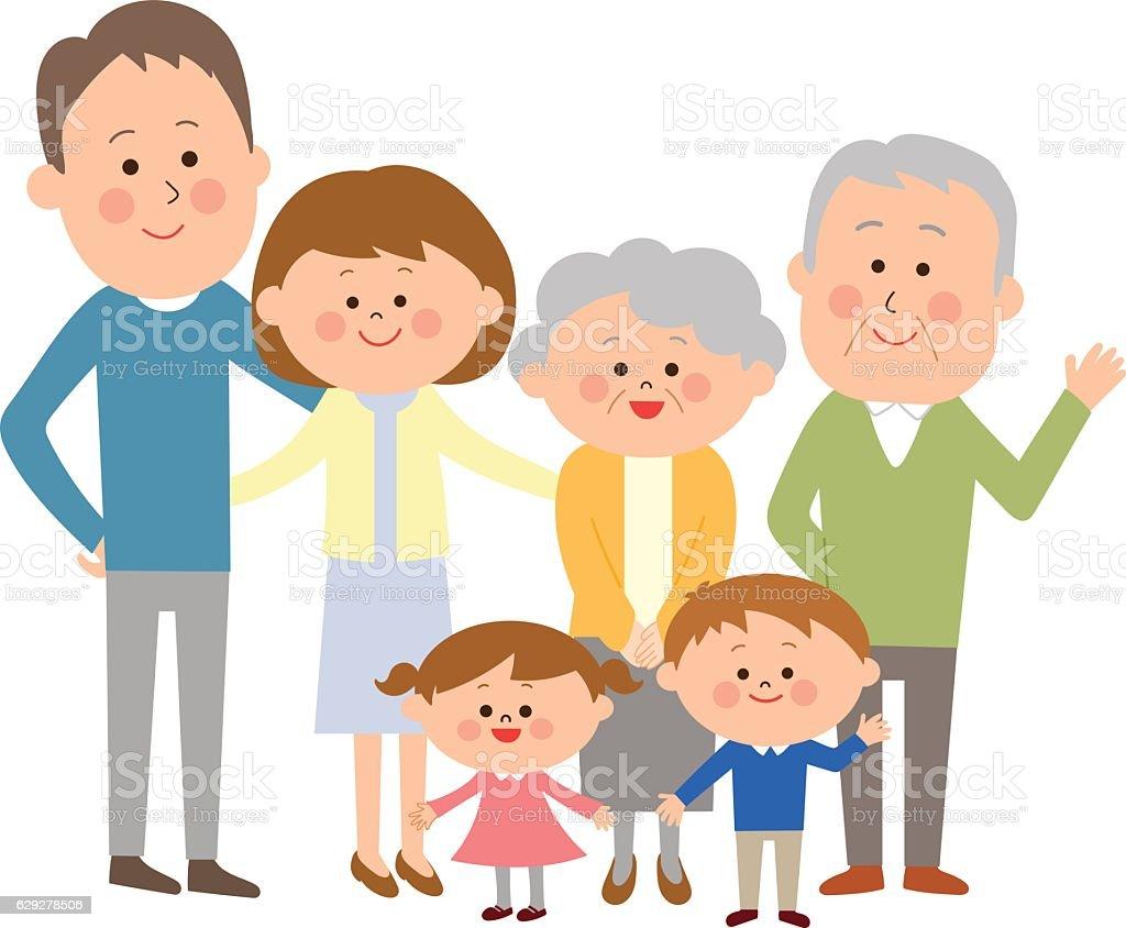 happy three generations together vector art illustration