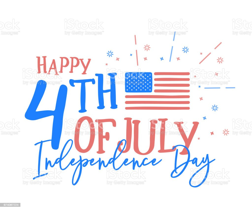 Hapy 4th of July, independence day with fun mix of doodle hand drawn and calligraphic text. Vector background banner for american national holiday with USA flag, text and fireworks vector eps10 American Culture stock vector