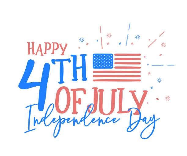 hapy 4th of july, independence day with fun mix of doodle hand drawn and calligraphic text. vector background banner for american national holiday with usa flag, text and fireworks - july 4th stock illustrations