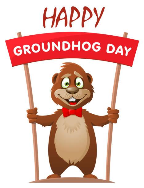 ilustraciones, imágenes clip art, dibujos animados e iconos de stock de día de la marmota de hapy. marmota de dibujos animados divertido tiene bandera. ilustración de vector. - groundhog day