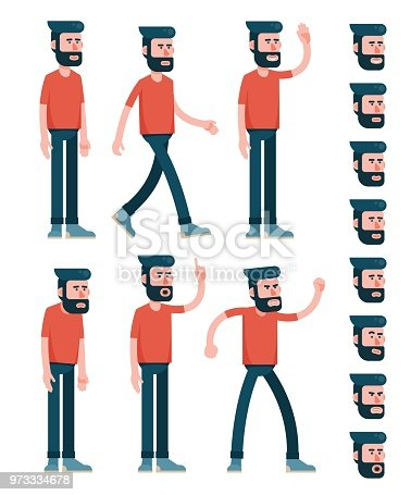 Ð¡haracter man with a beard in trousers and a T-shirt in various poses