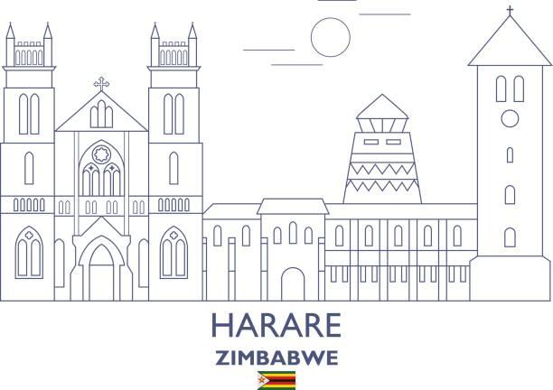 skyline stadt harare, simbabwe - salisbury stock-grafiken, -clipart, -cartoons und -symbole