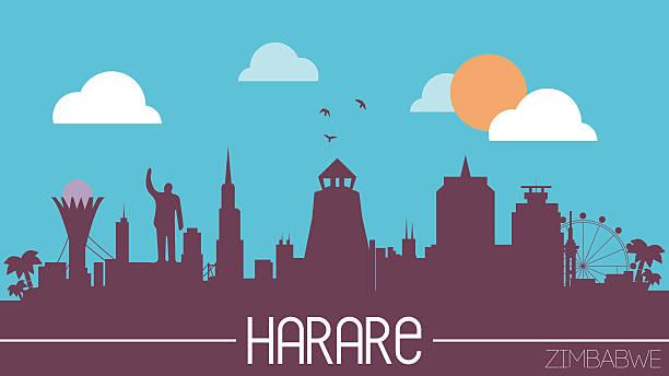 harare stadt skyline silhouette simbabwe - salisbury stock-grafiken, -clipart, -cartoons und -symbole