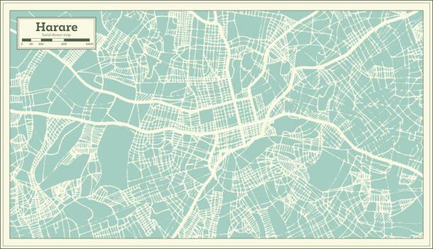 harare simbabwe stadtplan im retro-stil. der umriß. - salisbury stock-grafiken, -clipart, -cartoons und -symbole