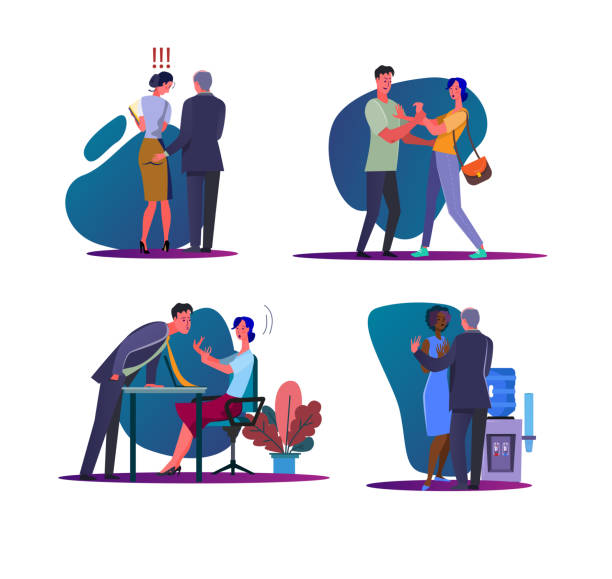 Harassment and abuse set Harassment and abuse set. Male boss touching female employee, man assaulting on woman. Flat vector illustrations. Discrimination concept for banner, website design or landing web page sensuality stock illustrations