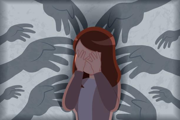 illustrazioni stock, clip art, cartoni animati e icone di tendenza di harassment and bullying concept - donna si nasconde