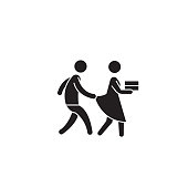 Harassment behevior black vector concept icon. Harassment behevior flat illustration, sign