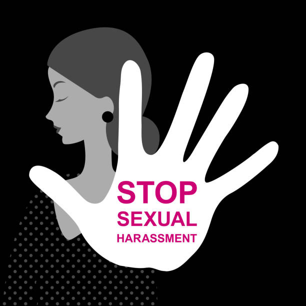 Harassment. Stop sexual harassment. Women's rights. Sexual abuse prevention poster. Violence concept. Social issues, abuse, aggression, harassment Harassment. Stop sexual harassment. Women's rights. Sexual abuse prevention poster. Violence concept. Social issues, abuse, aggression, harassment stop stock illustrations