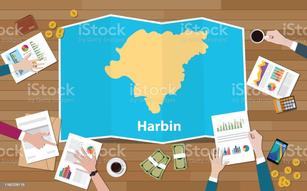 Harbin Carte Chine.Harbin Capitale Heilongjiang Province De La Chine Ville De