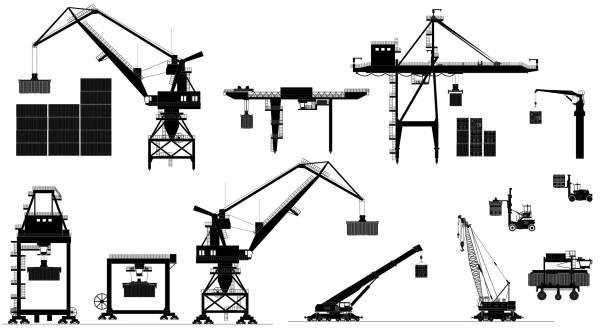 ilustrações de stock, clip art, desenhos animados e ícones de harbor cargo cranes. vector set. black and white silhouette - porto