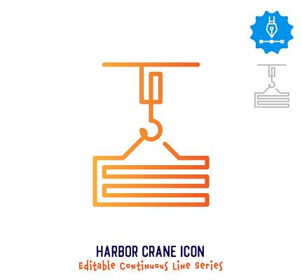 Harbor Crane Continuous Line Editable Icon