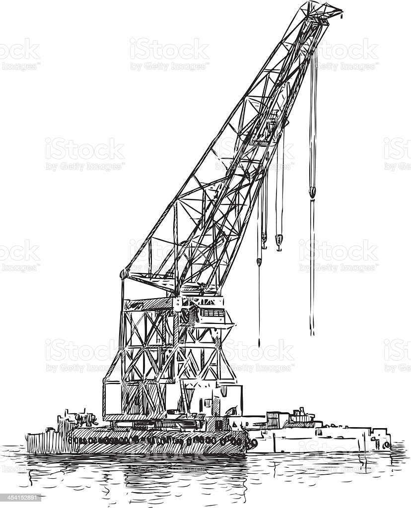 harbor crane vector art illustration