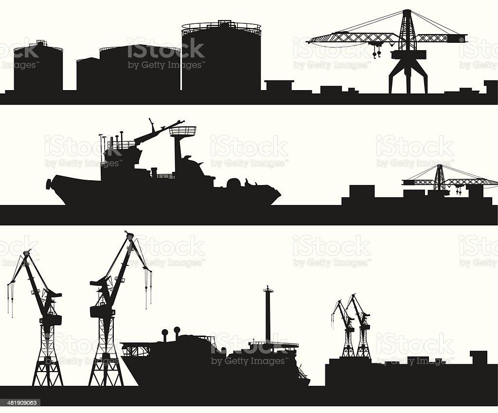 harbor skyline vector silhouette vector art illustration