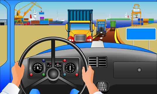 Harbor trucks, from the driver perspective, vector