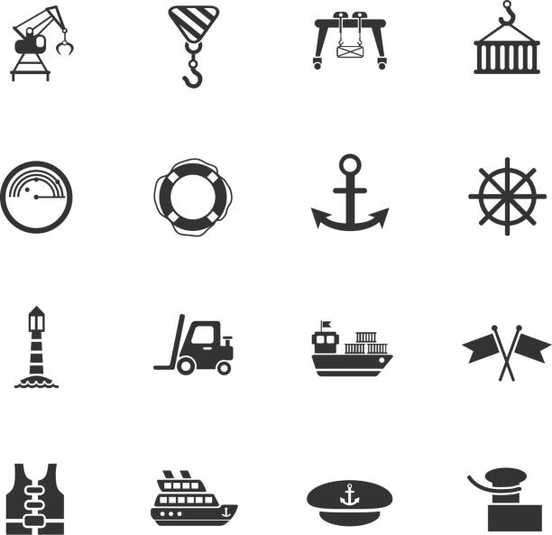 harbor web icons harbor web icons for user interface design hooikoorts stock illustrations